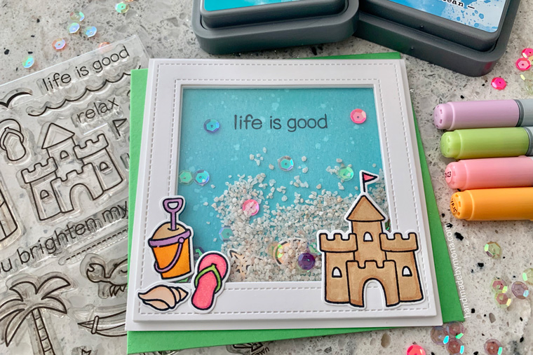 Life is Good Lawn Fawn Shaker card