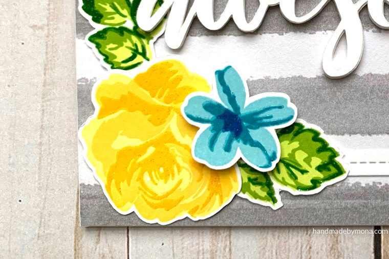 Altenew Vintage Flowers closeup of sparkle embossing powder