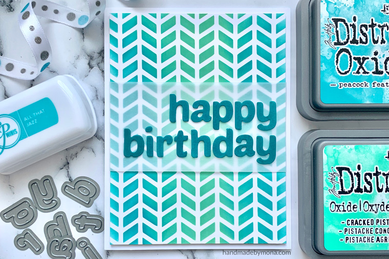 stencil background birthday card using Altenew Simple Alpha Dies