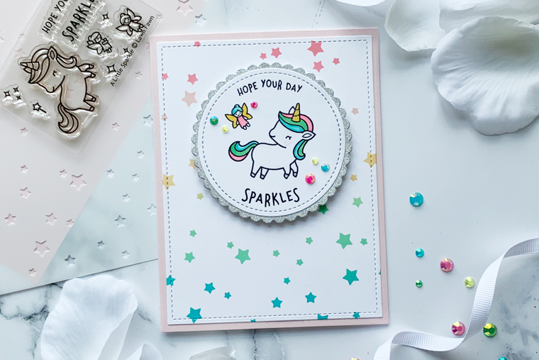 The Ton Stamps stars all over stencil with Lawn Fawn A Little Sparkle