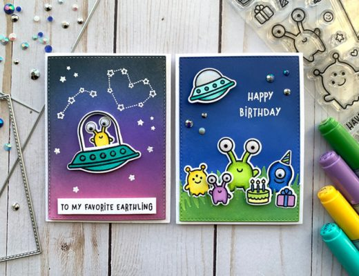Trinity Stamp Slimline Frame & Fold dies and lawn fawn beam me up stamp set