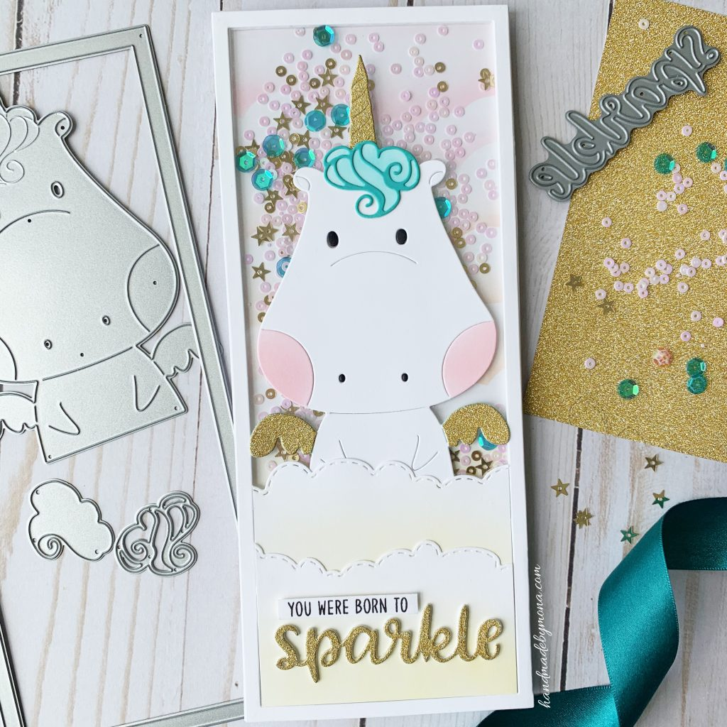 Waffle Flower Be A Unicorn slimline card