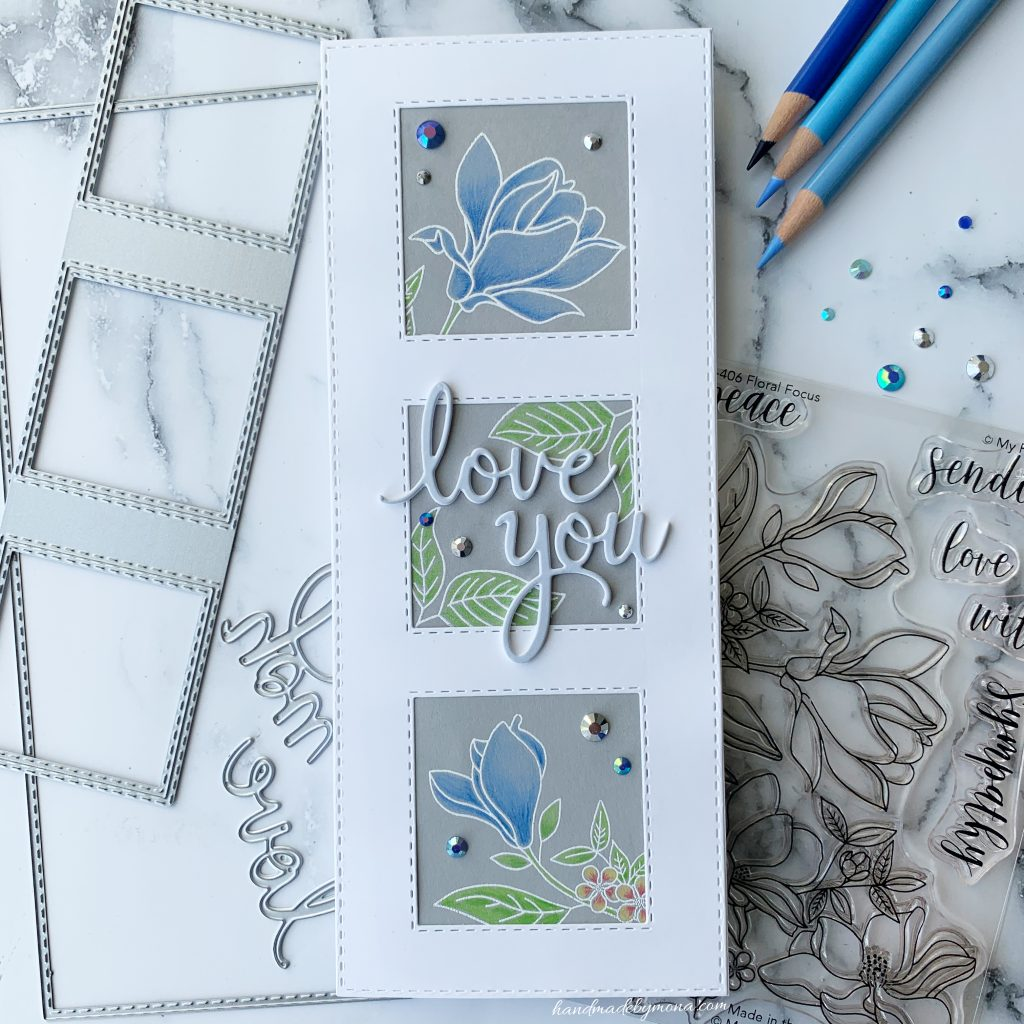 My Favorite Things floral focus slimline card