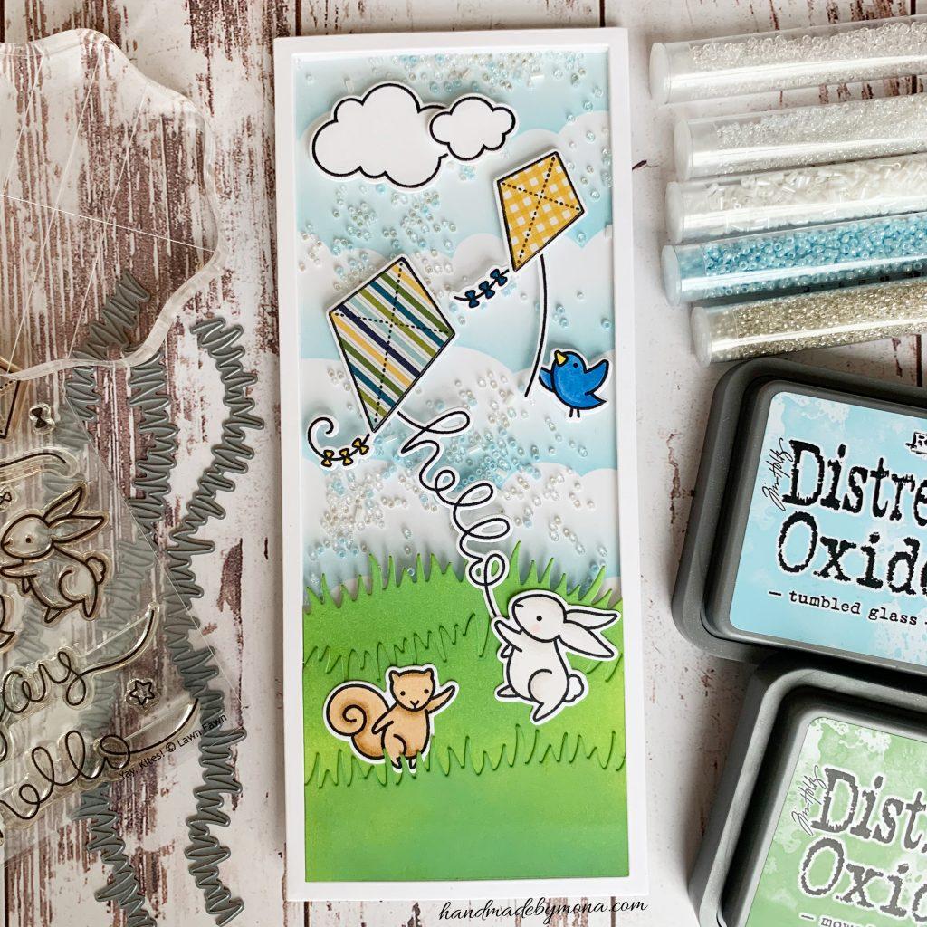 Lawn Fawn Yay Kites! slimline card