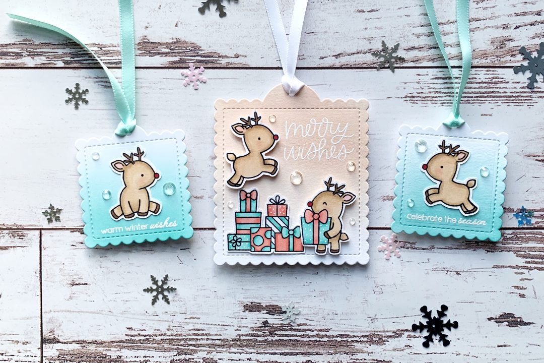 Pretty Pink Posh Reindeer Friends Gift Tags
