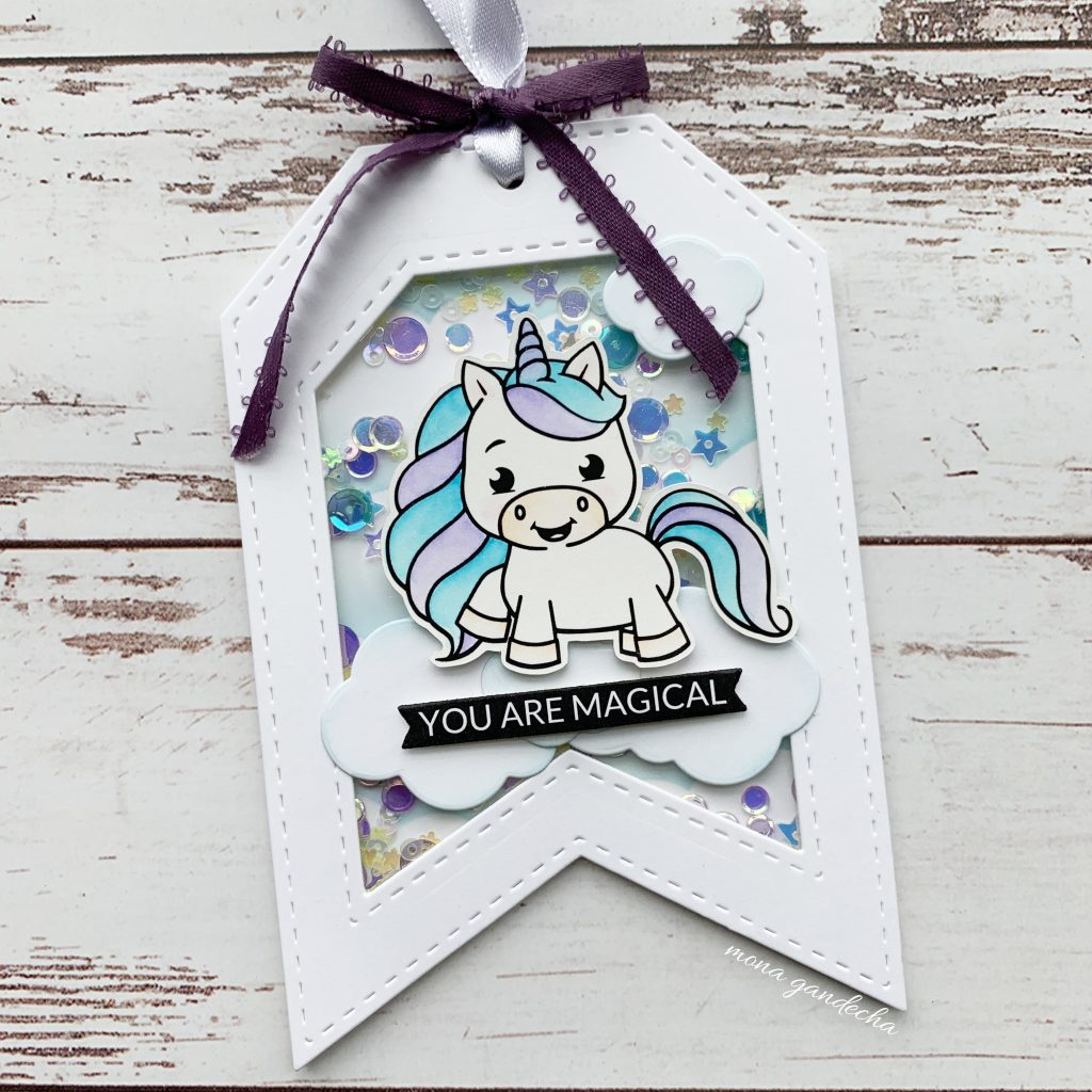 Pink Fresh Studio essential tag die with Unicorn Love by Isabel Christina
