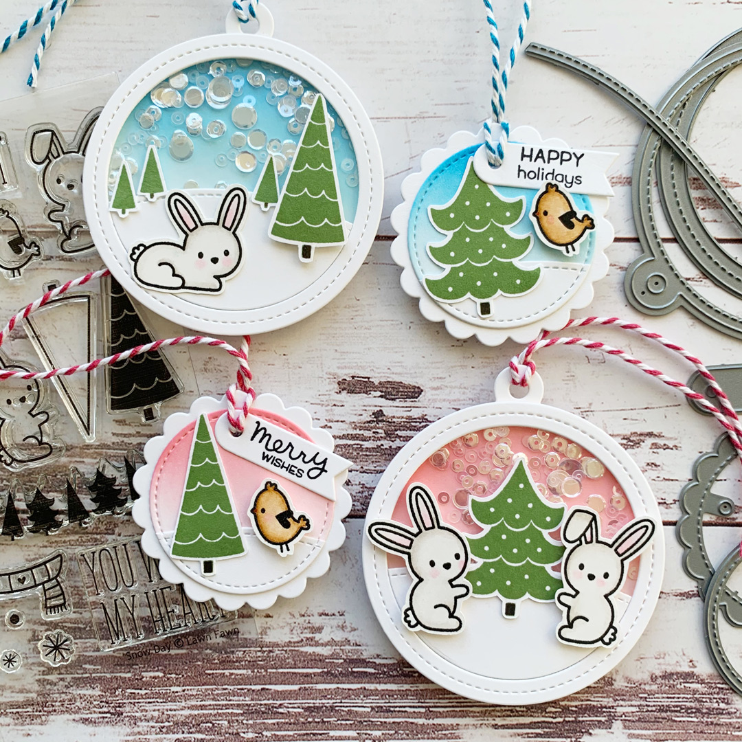 Lawn Fawn gift tags using Snow Day stamp set