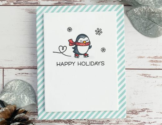 Lawn Fawn Winter Penguin clean and simple holiday card